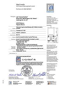 Certyfikat badań izolacyjności termicznej ALT F50 od IFT Rosenheim Institute